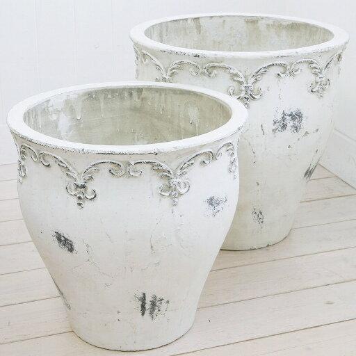 植木鉢おしゃれアンティーク陶器鉢ブランシェジャーポットL<40cm13号穴あり白ホワイト10号対応プ