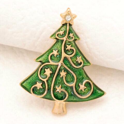ドイツ製 クリスマスブローチ 星降るクリスマスツリー BIJOU-COLLECTION
