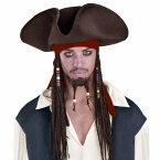 ジャックスパロウ コスプレ パイレーツオブカリビアン 海賊 帽子 ハロウィン 帽子 つけ毛 大人用