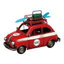 ブリキのおもちゃ クルマ (レッド) 車 ミニチュアカー アンティーク調 レトロ サーフボード サーフィン インテリア雑貨 写真立て フィアット FIAT 500 (チンクエチェント)風 ハワイ アメリカン 西海岸 マリン 雑貨
