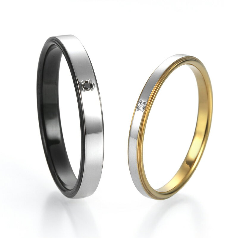 Majurie Marriage Flat (TITAN/Pt900) 結婚指輪(マリッジリング)/チタン&プラチナ900