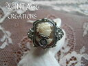 A delicate antique classic reprint design / cameo & Onyx reversible ring (square) 4805P12Oct14