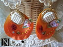 """Ship to"" rose petals and Ladybug earrings (orange) 6"