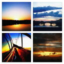 【アートデリ】夕日のファブリックパネルセット インテリア 雑貨 アート 写真 cru-0003_cr