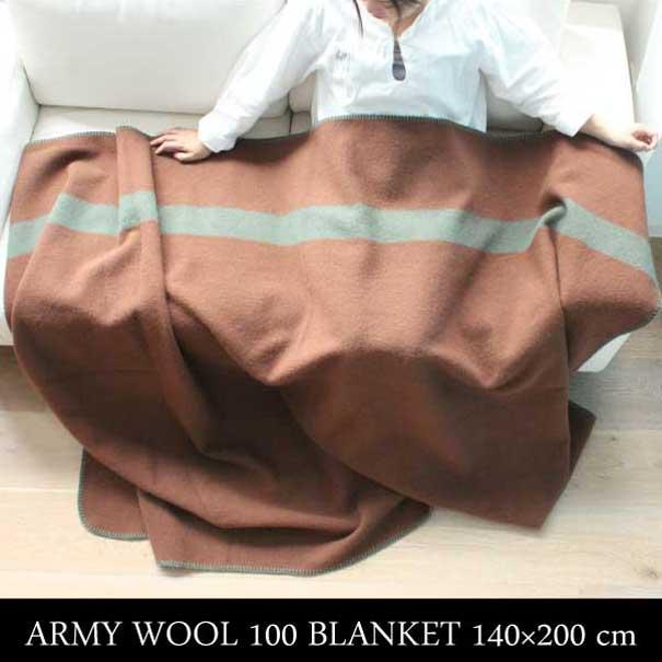 ARMY WOOL 100 BLANKET 140×200cm アーミー ブランケット 膝かけ ひざかけ 掛け布団 毛布 防寒 カバー ウール ブラウン 茶色 ミリタリー アンティーク インダストリアル ビンテージ ネイティブ おしゃれ