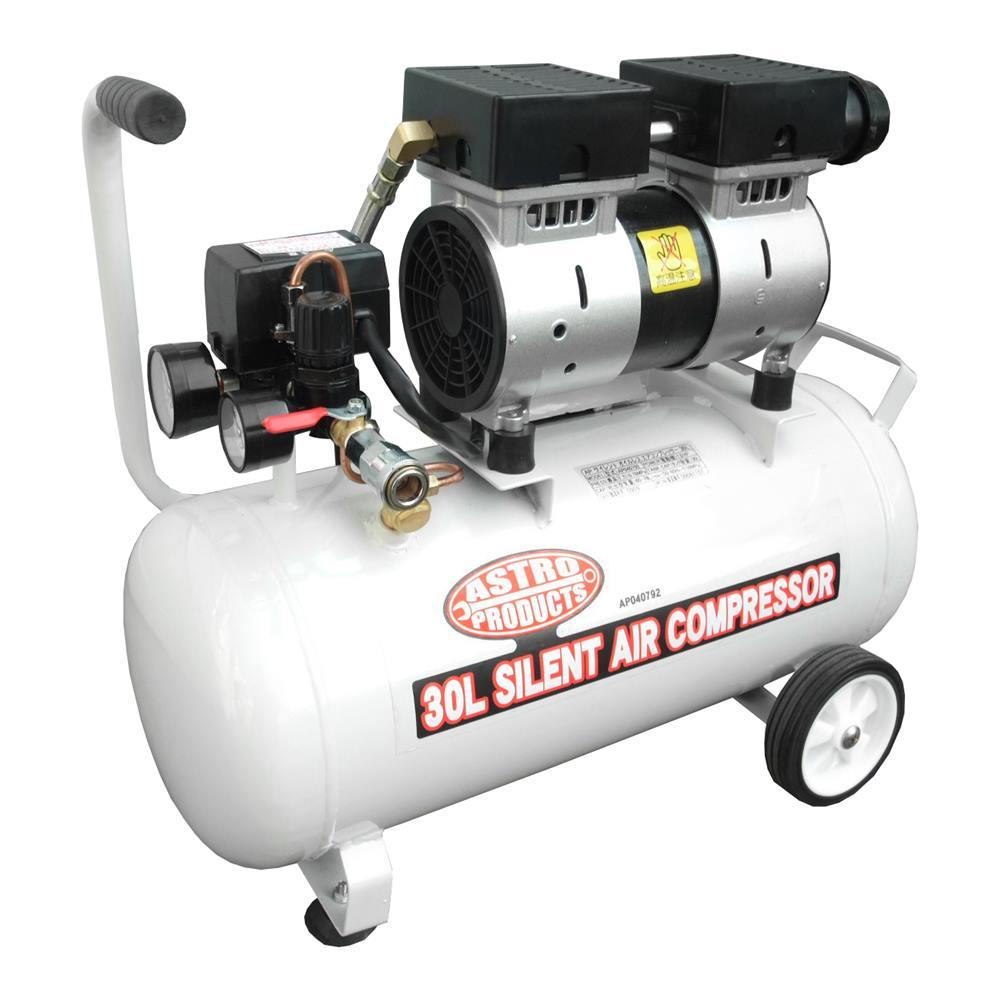 AP オイルレス サイレント エアーコンプレッサー 30L【エアコンプレッサー 圧縮空気】【オイルレス 静音 静か エアーツール】【アストロプロダクツ】