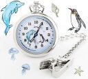 送料無料 ナースウォッチ キャラクター イルカ ペンギン キーホルダー シルバー かわいい ナース 時計