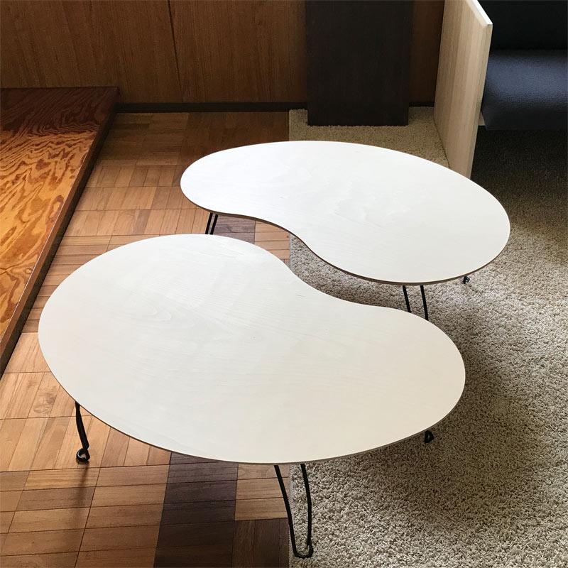 折りたたみテーブル 豆 ビーンズテーブル 日本製  ローテーブル ミニテーブル 折り脚ローテーブル ビーンズ型 日本製 パソコンテーブル