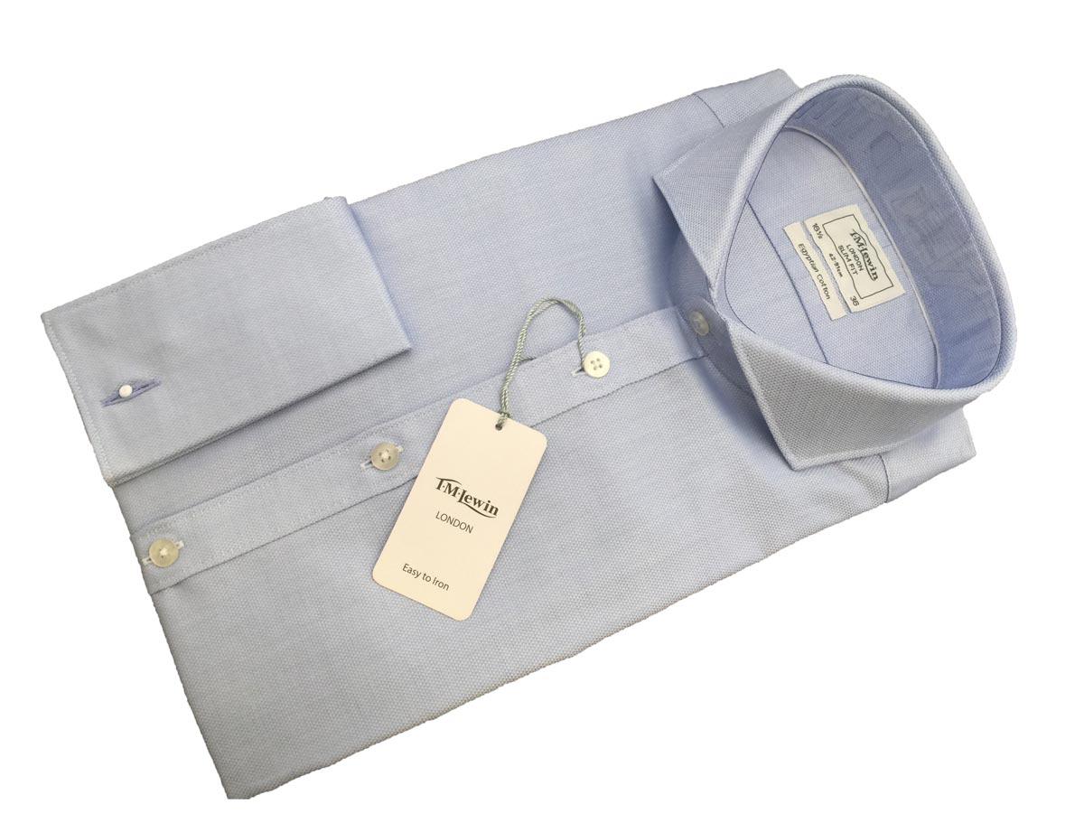 【あす楽対応】ドレスシャツ メンズ 英国 ティーエムルーイン TMLewin メンズ 紳士 Wカフス ダイアモンドウィーブ FC Blue 青 サイズ選択 T057