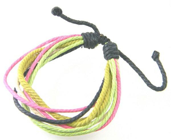 フリーサイズ コットン8連ブレスレット緑ピンク/ビビッドカラービビットカラー コットン ブレス/メール便可 激安価格【ギフト包装無料】