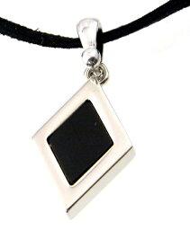 メンズ チョーカー ダイヤブロックチェックリバーシブル/黒紐 シンプル ネックレス/メール便可【ギフト包装無料】