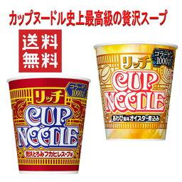 新着 新発売 日清食品 カップヌードル 贅沢スープ リッチ(あわび風味オイスター煮込み・フカヒレスープ味 ) 2柄 12食セット AKBクリアファイル付き 送料無料