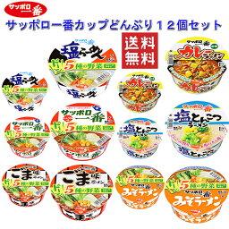 サッポロ一番 カップ麺 塩ラーメン・塩とんこつ・カレー・ごま味・味噌・しょうゆラーメン 6柄 12食セット 送料無料