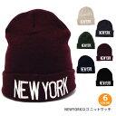 """セール ニット帽 シンプル""""NEWYORK""""ロゴ カジュアル..."""