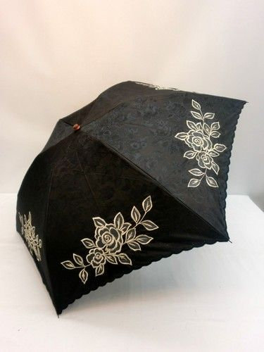晴雨兼用・折畳傘-婦人 UVケアT/Cジャガードカットワーク刺繍ミニ折り傘【10P05Nov16】 傘 雨具 梅雨対策 ゲリラ豪雨