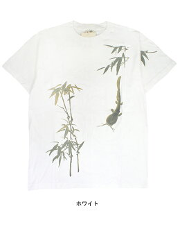 Pine was CHAN, once upon a time ☆ Japanese pattern T shirt ☆ gold pressed upon a time worn by famous brand ☆ bamboo catfish white / white