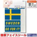 スウェーデン 国旗 フェイスシール タトゥシール 【 ワールド対応ステッカー ☆ サッカー・野球 ラグビー 代表応援グッズ♪