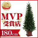 クリスマスツリー ウッドベーススリムツリー180cm 木製ポ...