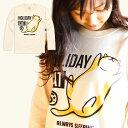 猫 ねこ ロンT HOLIDAY CAT ( ナチュラル ) | ネコ 猫柄 猫雑貨 | メンズ レディース 長袖 Tシャツ トップス | かわいい おしゃれ 大人 ペアルック お揃い プレゼント | 大きいサイズ | SCOPY / スコーピー
