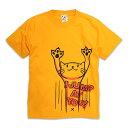 【 50%OFF 】【 枚数限定 】 ネコ好き のための 猫柄 Tシャツ JUMP ( ゴールドイエロー )|ね こ猫雑貨 ( 半袖Tシャツ ) | SCOPY...