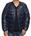 アールニューボールド R.NEWBOLD 中綿 ジャケット 襟なし 紺 メンズ ノーカラー ネイビー 冬物 ライオンマーク 防寒 防風