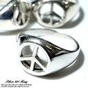 シルバー925 メンズ レディース リング ピースマーク 平和 平和の象徴ピースマークデザインの指輪...