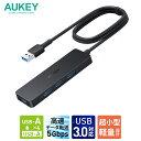 【2年保証】USBハブ USB 3.0 4ポート AUKEY オーキー 5Gbps Essential Series 4-in-1 ブラック CB-H37-BK type-a スリム おしゃれ 薄型 軽量 コンパクト 高速データ転送 1m テレワーク デスクトップ ノートパソコン USB-A 2年保証
