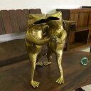 バリ島製 真鍮 ダンシングカエル 金 【 アジアン インテリア アンティーク 置物 蛙 かえる エクステリア ガーデン 庭 オブジェ 玄関 店舗装飾】