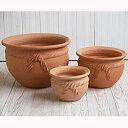 テラコッタ E12 3点セット  ≪植木鉢/陶器/テラコッタ・素焼き鉢系≫