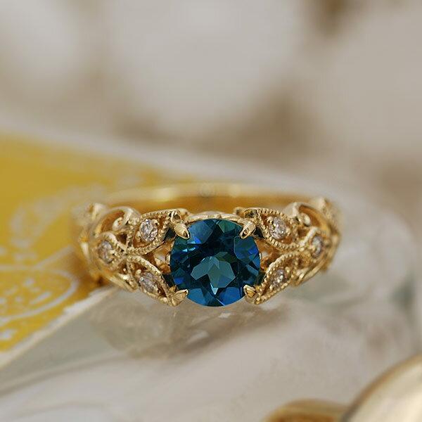 ロンドンブルートパーズ×ダイヤモンドリング「ファヤージュ」対応金種:K18WG/K18YG/K18PG/K18SG【送料無料】 シックで都会的な輝きのロンドンブルートパーズをクラシカルなデザインで楽しむ。リング K18イエローゴールド ロンドンブルートパーズ ダイヤモンド