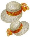 ショッピング麦わら帽子 【麦わらぼうし☆イタリア】オレンジリボンが素敵☆麦わら帽子【ハット・帽子】