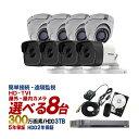 防犯カメラ 屋外 屋内 カメラ8台 3TB 300万画素 HD-TVI 防犯カメラセット