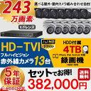 防犯カメラ 屋外 屋内 カメラ13台 4TB HD-TVI 防犯カメラセット 業務用
