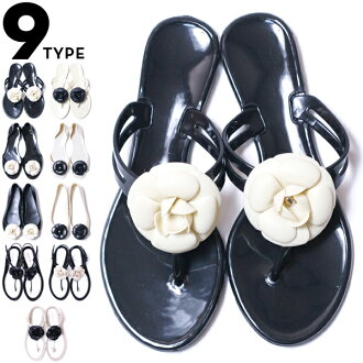 カメリアフラワー-rubber sandals ★ with ★ tongs, peep toe and flat pumps 10P18Oct13