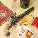 スペイン製 フリントロック式 中世 古式銃 ヨーロッパ アンティーク風 西洋武具 レプリカ 白 ベルギー・リエージュ エレガント ポケット ピストル シルバーバレル 合金製 象牙色 モデルガン 拳銃 31cm sko-1102be