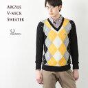 [フレッドペリー セーター]アーガイル ラムウール Vネックセーター K2271[102.BLACK]FRED PERRYメンズセーター