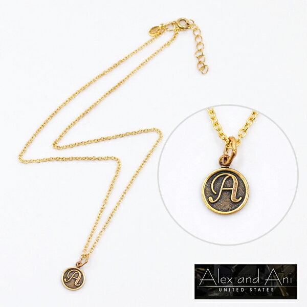 ALEX AND ANI アレックスアンドアニイニシャルプチネックレス ゴールド 【A/C/H/K/N/S/T】【メール便可】【無料ラッピング対応可】【正規品】【ATI】【あす楽対応】