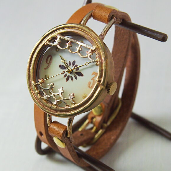 ipsilon(イプシロン) 手作り腕時計 terra(テラ) レディース [terra] 時計作家・ヤマダヨウコさんのハンドメイドウォッチ・ハンドメイド腕時計 二重巻き本革ベルト アンティーク調 アナログ シンプル 日本製 国産
