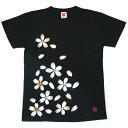 繭−mayu− 京友禅和柄Tシャツ 半袖 黒色 桜 メンズ・レディース[MY-TS2A-SK001] おすすめ夏服