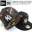 【送料無料】ニューエラ 59FIFTY キャップ【NY】【スター】【EYERET STAR】星 黒 カモ ブラック ゴールド NEWERA NEW ERA CAP 帽子 ニューエラ メンズ レディース ストレートキャップ