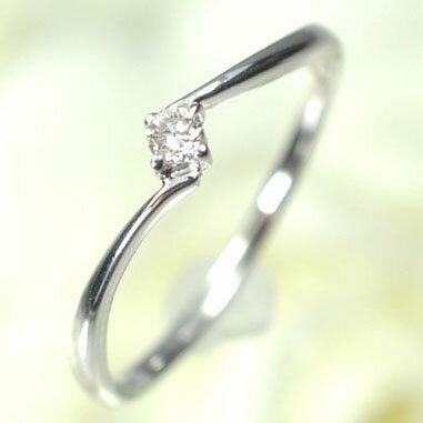 ダイヤモンド リング K18WG・ダイヤモンド0.05ct シンプルリング ダイヤモンド指輪