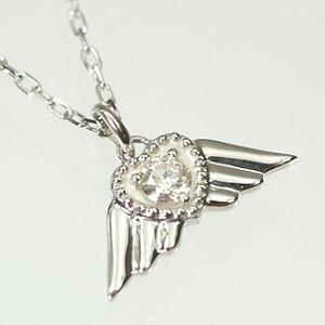 ダイヤモンド ネックレスK10WG・ダイヤ0.1ct エンジェルウィングペンダント(ネックレス)