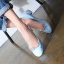バレエシューズ パンプス ローヒール リボン レディース 黒 ブラック 婦人靴 シンプル 歩きやすい ブルー レッド イエロー