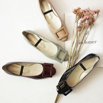 パンプス ペタンコ バックル スクエアモチーフ OL オフィス 婦人靴 痛くない 歩きやすい