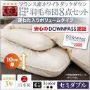 【DOWNPASS認証】フランス産ホワイトダックダウンエクセルゴールドラベル羽毛布団8点セット ボリュームタイプ セミダブル