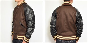 SKOOKUM(����������)STADIUMJACKET/LEATHER���������ॸ�㥱�å�/���������/�쥶��BROWN/�֥饦��
