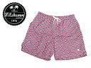 【即納可能】【ワケあり-502】MITCHUMM(ミッチュム)Vintage-Red & White Big Dots on Blue swim shortsスイムショーツサイズ:50※左前プリントかすれ有り※