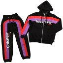 GCDS ジーシーディーエス スウェット セットアップ PARKA/PANTS FW19M020003/030001 BLACKMENS メンズ SWEAT SET UP パーカー フーディー パンツ ブラック ロゴ ライン イタリア