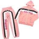 GCDS ジーシーディーエス スウェット セットアップ PARKA/PANTS FW19M020003/030001 PINKMENS メンズ SWEAT SET UP パーカー フーディー ジップアップ パンツ ピンク ロゴ ライン イタリア