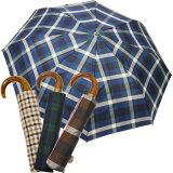 【】 雨の日はイタリア老舗ブランドを堪能♪  【あす楽対応】折りたたみ傘 イタリア製 老舗傘メーカー rainbow レインボー 天然木ウッドハンドルワンタッチ折りたたみ傘 【あす